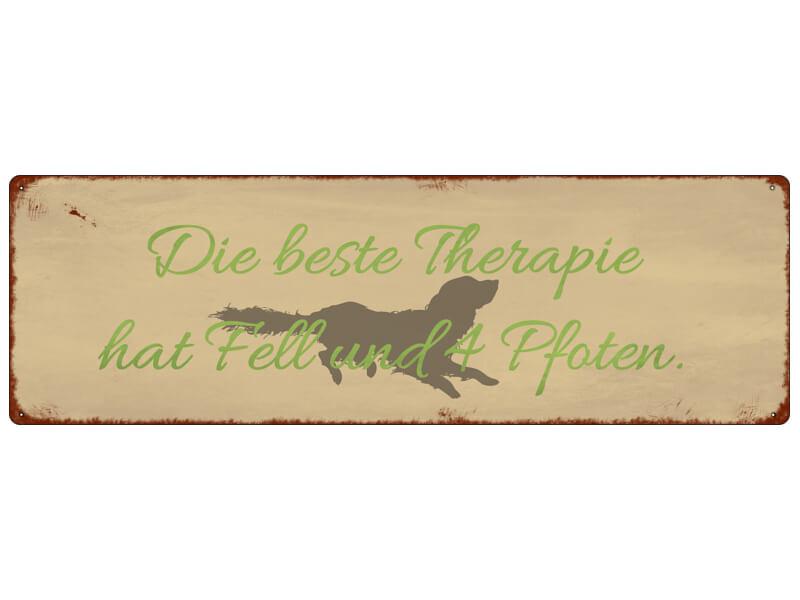 Blechschild DIE BESTE THERAPIE HAT FELL Tierisch Hund