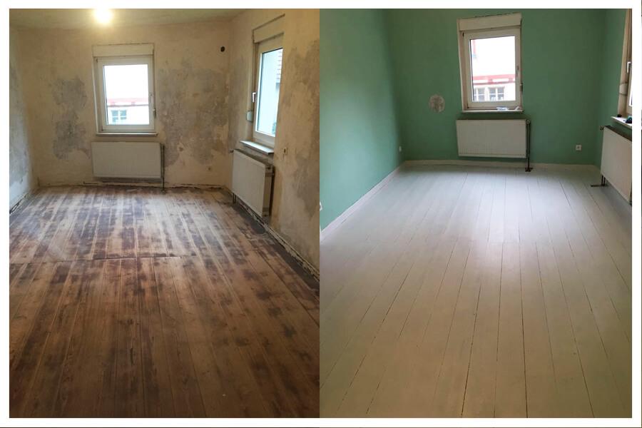 fu boden streichen mit kreidefarbe miss pompadour. Black Bedroom Furniture Sets. Home Design Ideas